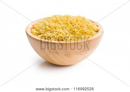 alphabet pasta in wooden bowl