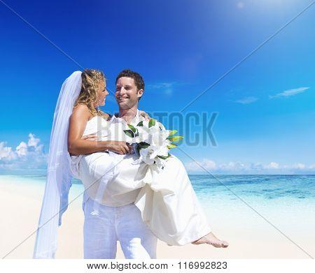 A couple wedding on the beach love concept