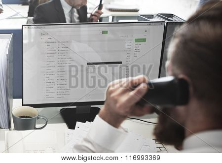 Businessman Using Telephone Correspondence E-mail Concept