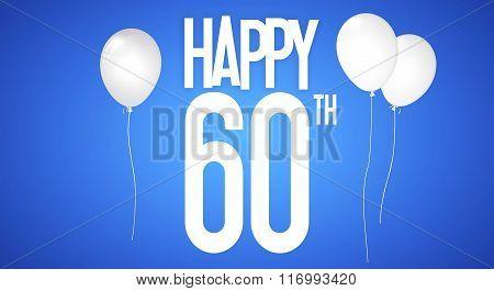 Happy Birthday Card - Boy With White Balloons - 60 Years Greeting Postcard - Illustration Anniversar