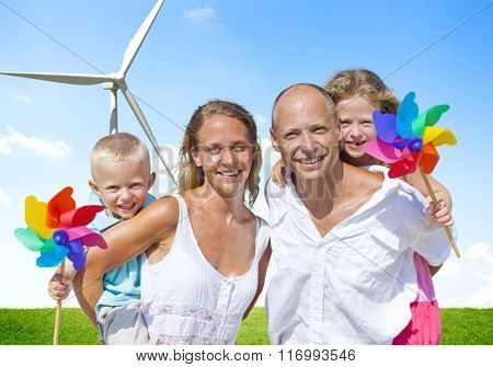 Family Bonding Turbine Cheerful Lifestyles Concept