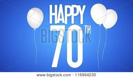 Happy Birthday Card - Boy With White Balloons - 70 Years Greeting Postcard - Illustration Anniversar