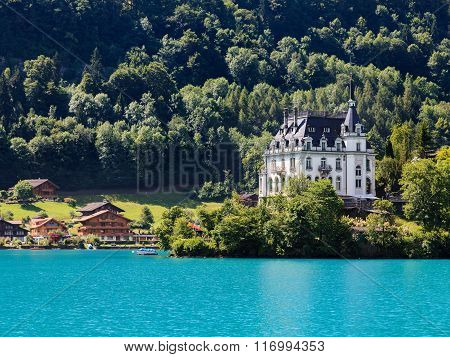 Iseltwald Castle, View From Alpine Lake Brienz