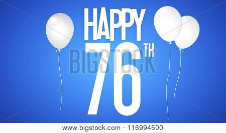 Happy Birthday Card - Boy With White Balloons - 76 Years Greeting Postcard - Illustration Anniversar