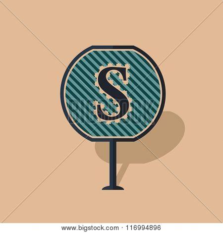 Road sign icon letter S. Flat design. Vector vintage illustration