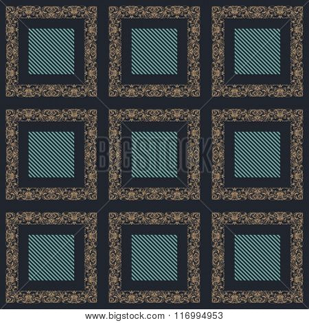 Seamless ornament vintage square background. Baroque antique Pattern vector illustration