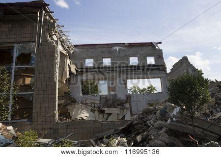 Old Building Is Broken By The War, Ukraine