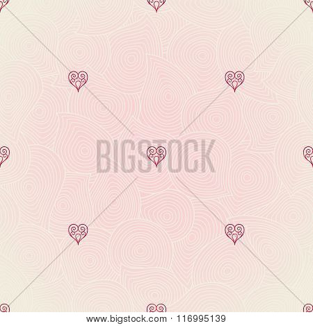 Vector Seamless Pattern With Ornate Hearts.