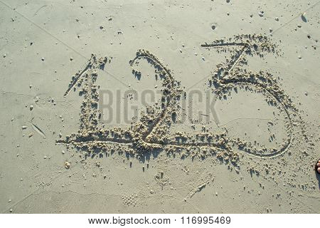 Numbers One Two Three Written On Sandy Beach