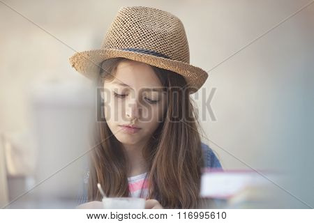picture of pensive and concetrate teenage girl