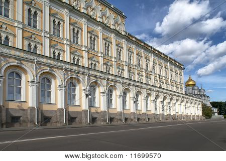 Long wall of one of the office buildings at the Kremlin.