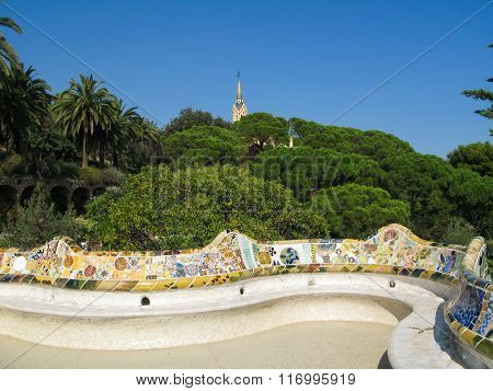 Colorful ceramic bench in the  Park  Guell  in Barcelona, Spain.