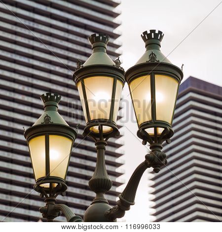 Street Lamp In The City, Nevada, square composition