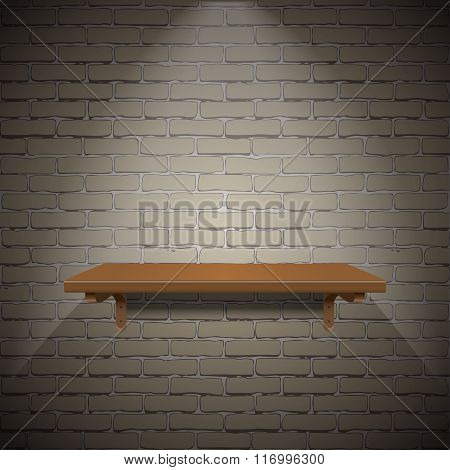 wooden shelf on brick wall texture background.