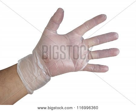 Mans Hand Into Plastic Glove