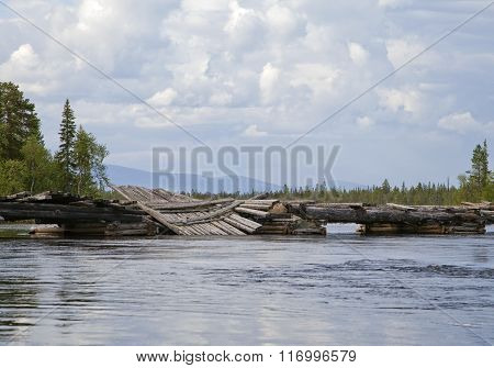 Broken bridge in Northern Russia