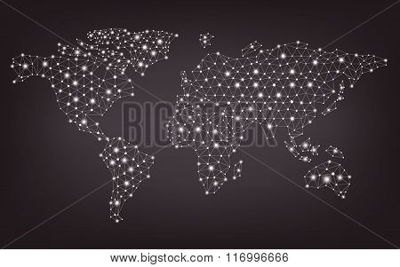 Abstract Telecommunication World Map With Circles, Lines And Gradients, Vector Design