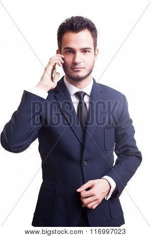 Businessman At The Phone Over White Background