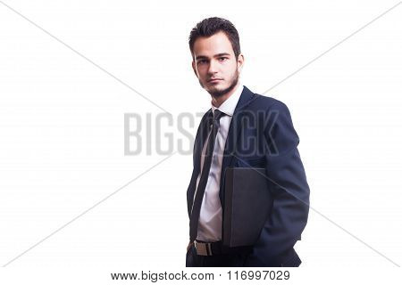 Businessman With A Folder Over White Background