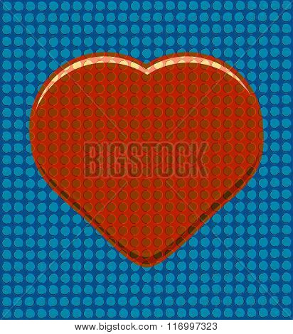 Red heart on a blue perforated background