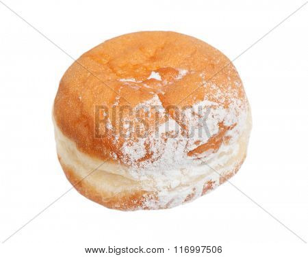 German doughnut berliner with icing sugar isolated on white