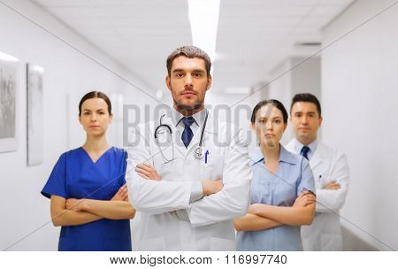 group of medics or doctors at hospital