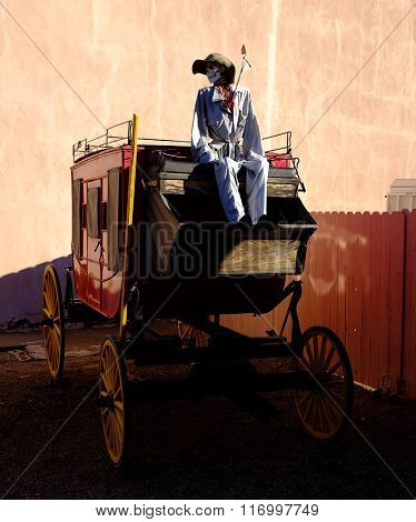 Stage coach western cowbow skeleton bones death arrow Halloween Funny