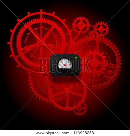 Red gear wheels of clockwork with Circular Meter on dark red background. Techno symbol and metaphor. Contain the Clipping Path