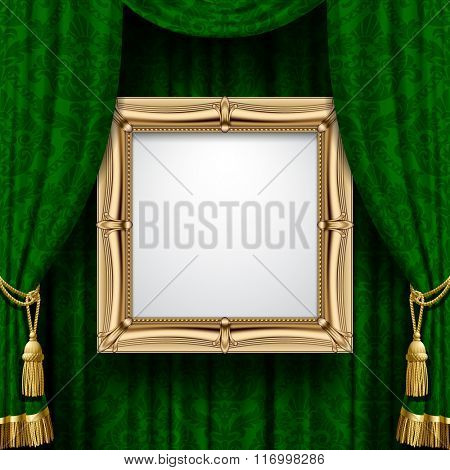 Suspended gold frame on the ornamental green curtain background. Square presentation artistic poster and placard