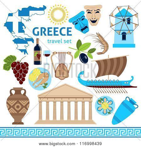 Greece Symbols Touristic Set Flat Composition