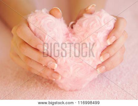 Fur Pink Heart In Female Hands