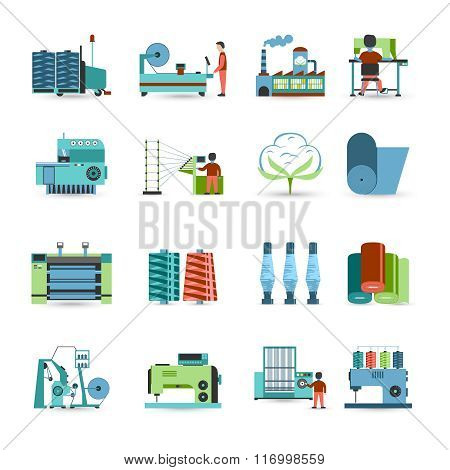Textile manufacturing process flat icons collection with weaving yarn,  machinery equipment and clothes fabrication abstract isolated vector illustration