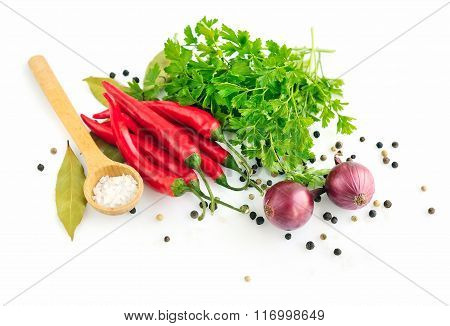 Parsley, Garlic Clove, Onion, Red Pepper And Spices On White Background