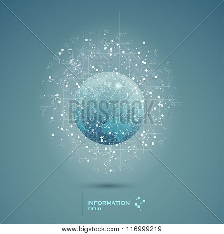 Abstract technical information field background design earth. Ve