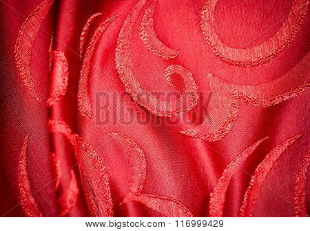 Red Fabric With Ornament As Background