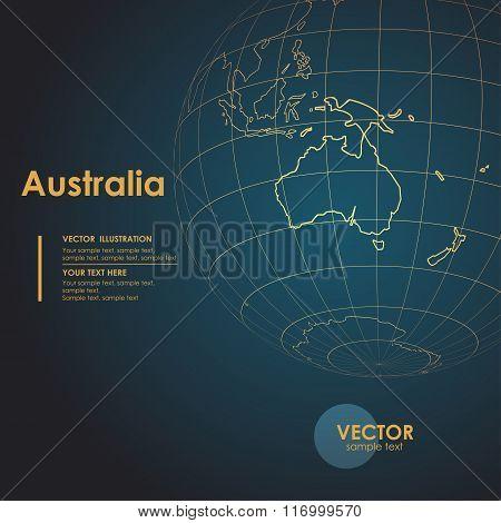 Illustration Earth map of Australia. Modern business line vector