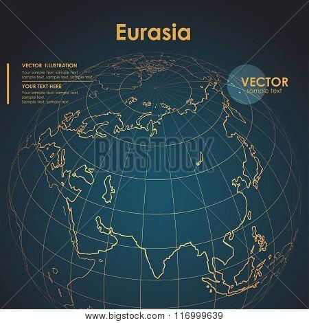 Illustration Earth map of Eurasia. Modern business line vector b