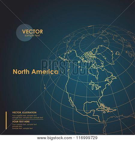 Illustration Earth map of North America. Modern business line ve