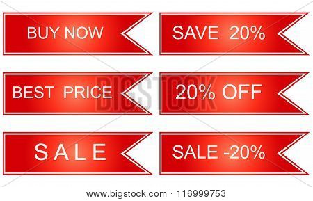 Collection Of Red Sale Tickets, Labels