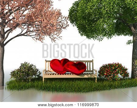 3D valentine view for love and romance isolated on a white background