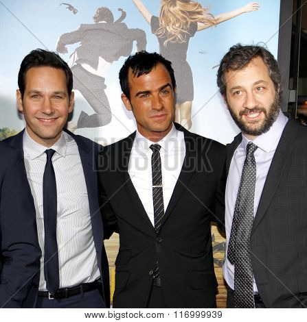 Judd Apatow, Paul Rudd and Justin Theroux at the Los Angeles Premiere of
