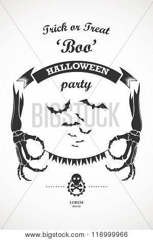 Vector vintage retro halloween party label design elements