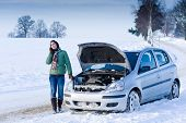 image of breakdown  - Winter car breakdown  - JPG