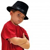 image of swagger  - Boy looking cool with his hat on - JPG