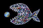 Постер, плакат: Garbage Destroying World Oceans And Earth Concept