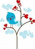 foto of loveless  - Illustration of a Lone Lovebird Perched on a Tree - JPG