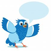 Постер, плакат: Talking Blue Bird Vector Illustration on a White Background Talking Bird Toy Talking Bird Pets