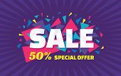 Concept vector banner - special offer - 50% sale. Sale banner with abstract triangle elements. poster