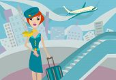 stock photo of flight attendant  - flight attendant in the town and airplane - JPG