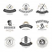 Постер, плакат: Barber Shop Logos Vector Templates Set Labels Badges and Design Elements Barber shop Logo Beauty